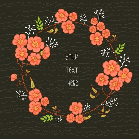 Wreatn with pink flowers on black background Vector