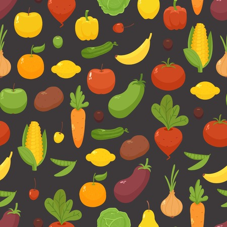 Black seamless background with vegetables and fruits Vector