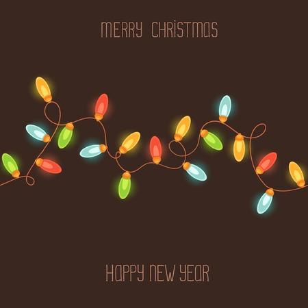 christmas bulbs: Christmas  New Year card, black background Illustration