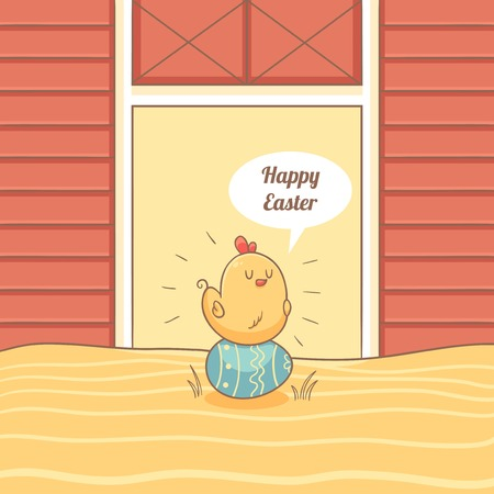 chicken coop: Card with chicken sitting on Easter egg