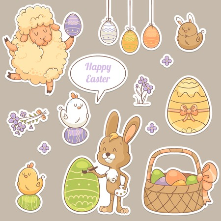 Set of stickers with cute Easter characters Vector