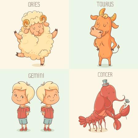 zodiac symbols: Zodiac symbols - Aries Taurus Gemini Cancer