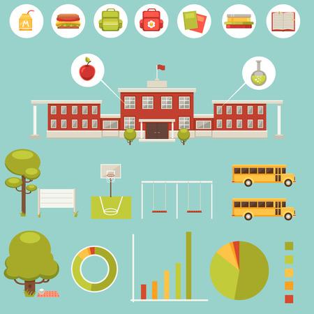 school kit: Big set of elements for school infographic Illustration
