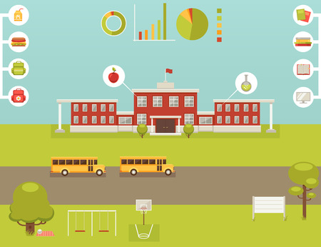 backpack school: Big set of elements for school infographic Illustration