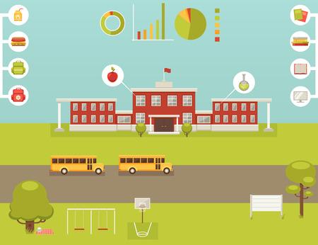 autobus escolar: Gran conjunto de elementos para la infografía escuela