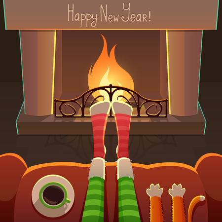 New YearChristmas Card with fireplace