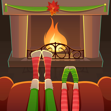 warming up: New YearChristmas Card with fireplace