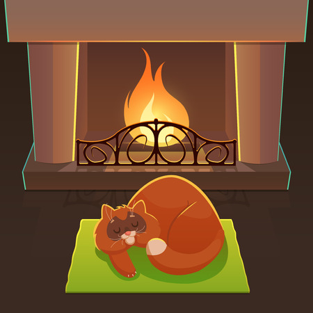 fireplace: New YearChristmas Illustration with Cat and Fireplace Illustration