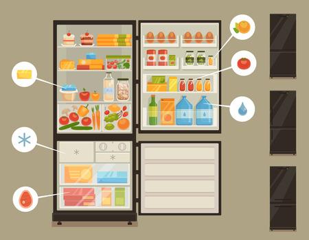 refrigerator: Black fridge isolated on gray background