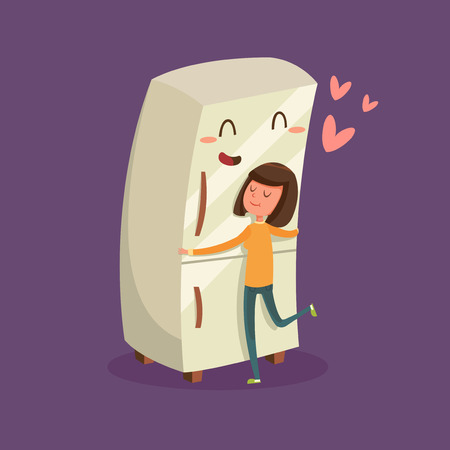 refrigerator with food: Woman Hugging Refrigerator Illustration