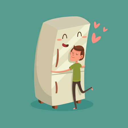 refrigerator with food: Man Hugging Refrigerator