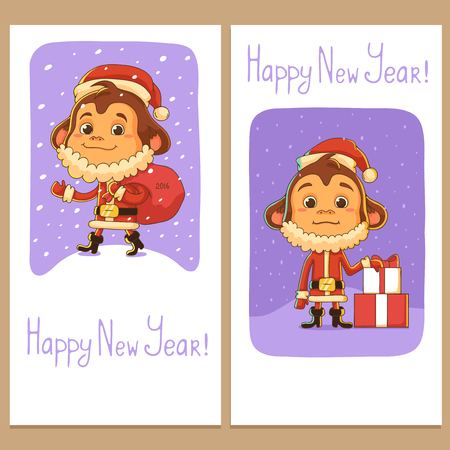 marmoset: Banners with Cartoon Monkey Dressed as Santa Claus