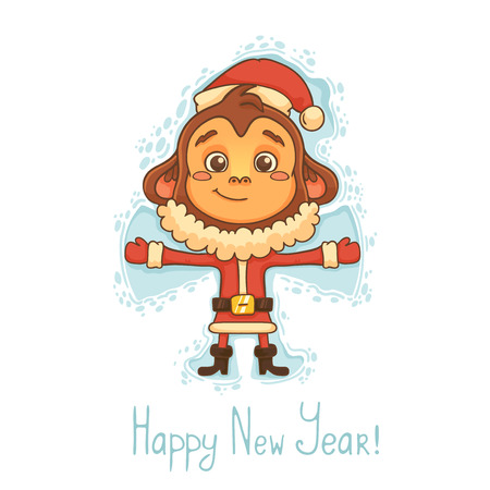 cute angel: New Year Card with monkey Illustration