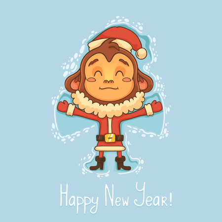 cute cartoon monkey: New Year Card with monkey Illustration