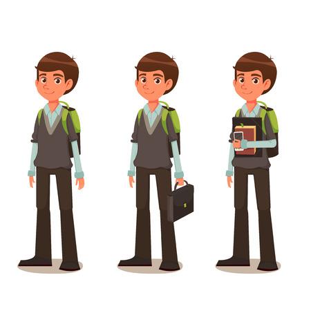 El colegial en uniforme escolar - ilustración de dibujos animados Ilustración de vector