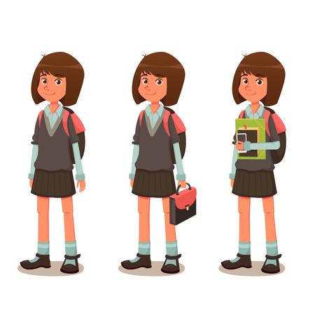 Schoolgirl in School Uniform - Cartoon Illustration