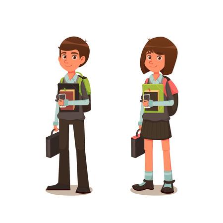 niños en la escuela: Colegial y colegiala en uniforme de escuela con los libros