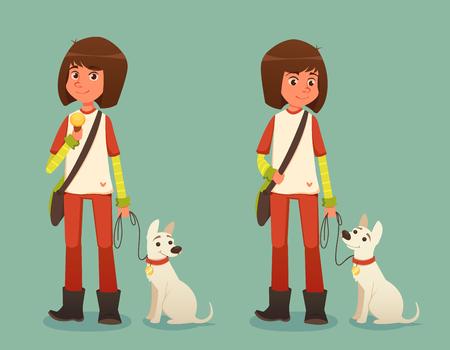helados caricatura: Chica linda de la historieta con su mascota aisladas sobre fondo azul