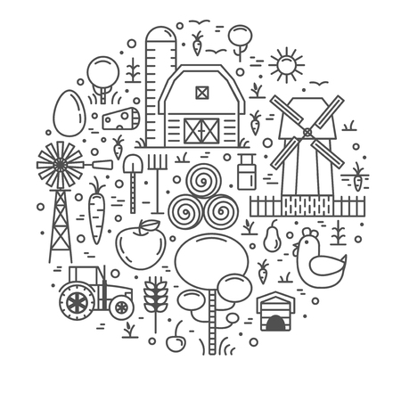 Farming Outline Icons Set Isolated On White Background