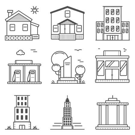 white house: outline icons set