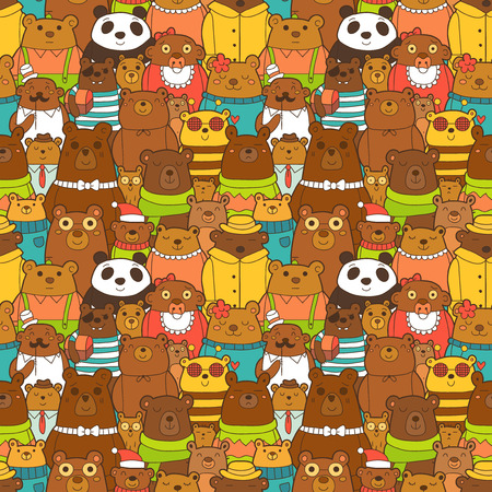 cute bear: Colorful seamless pattern with funny brown bears Illustration