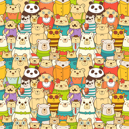 Seamless pattern with funny polar bears