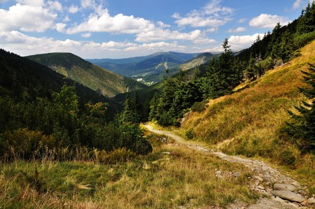 Long Valley in the national park Krkonose Stock Photo