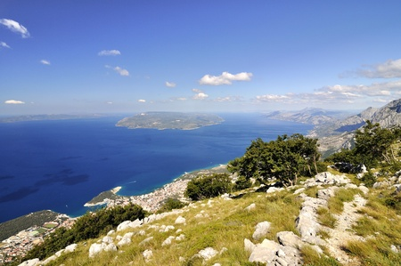 brac: The coast of city Makarska Croatia  Stock Photo