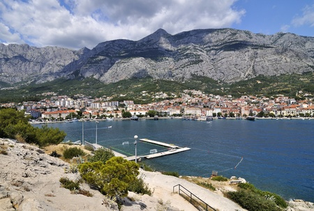 Panorama of Port in Makarska, Croatia photo