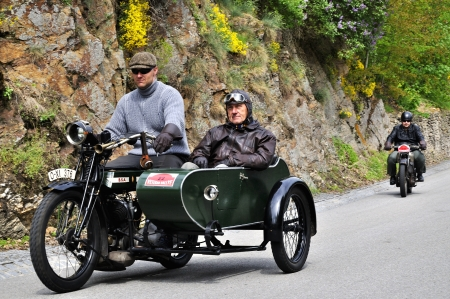 KRIVONOSKA - MAY 5: 1922 B.S.A. 770 motorbike on Car Competition during 42th Czech Veteran Rallye. May 5, 2012 in Bechyne, Czech Republic.
