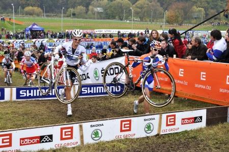 TABOR, CZECH REPUBLIC - OCTOBER 21, Van Der Haar Lars 34 and Albert Niels 1 in Cyclo Cross, UCI WORLD CUP Men ELITE on October 21, 2012 in Tabor, Czech Republic Stock Photo - 16337705