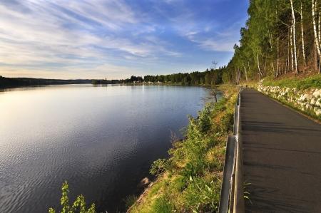 lipno: Lake Lipno and bicycle path in the Czech Republic