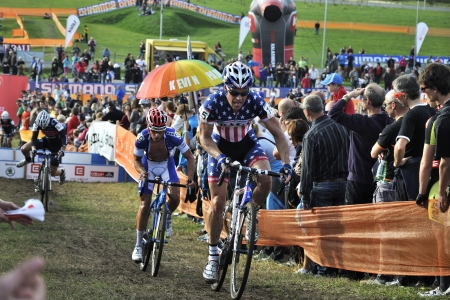 weber: TABOR, CZECH REPUBLIC - OCTOBER 26, PAGE Jonathan 15 and WEBER Sascha 39 in Cyclo-cross race UCI WORLD CUP Men ELITE on October 26, 2013 in Tabor, Czech Republic