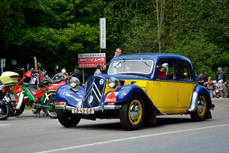 speedster: KRIVONOSKA - MAY 10: 1938 CITROEN 11BL on Car Competition during Czech Veteran Rallye. May 10, 2014 in Krivonoska, Czech Republic.