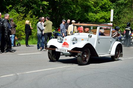 speedster: KRIVONOSKA - MAY 10: 1934 TATRA 57 on Car Competition during Czech Veteran Rallye. May 10, 2014 in Krivonoska, Czech Republic.