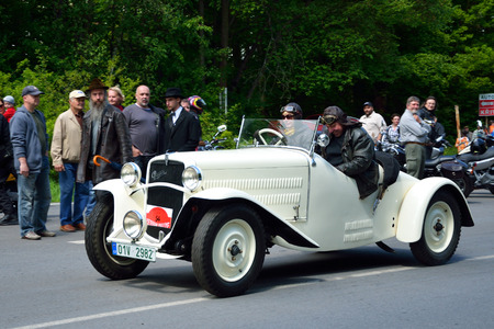 speedster: KRIVONOSKA - MAY 10: 1932 PRAGA Alfa on Car Competition during Czech Veteran Rallye. May 10, 2014 in Krivonoska, Czech Republic.