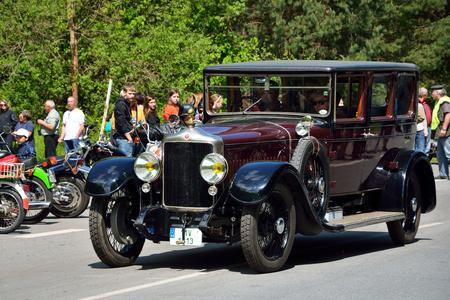 minerva: KRIVONOSKA - MAY 10: 1925 MINERVA AF on Car Competition during Czech Veteran Rallye. May 10, 2014 in Krivonoska, Czech Republic.