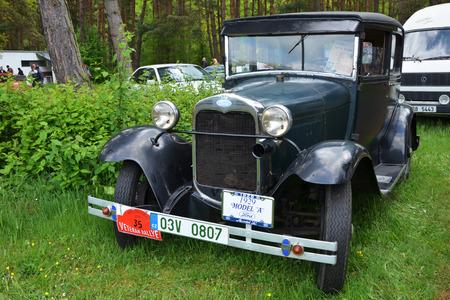 speedster: KRIVONOSKA - MAY 10: 1929 FORD A on Car Competition during Czech Veteran Rallye. May 10, 2014 in Krivonoska, Czech Republic. Editorial