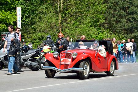 speedster: KRIVONOSKA - MAY 10: 1934 AERO 30 on Car Competition during Czech Veteran Rallye. May 10, 2014 in Krivonoska, Czech Republic. Editorial