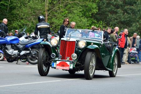speedster: KRIVONOSKA - MAY 10: 1937 MG TA on Car Competition during Czech Veteran Rallye. May 10, 2014 in Krivonoska, Czech Republic. Editorial