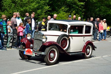 speedster: KRIVONOSKA - MAY 10: 1933 WALTER Junior on Car Competition during Czech Veteran Rallye. May 10, 2014 in Krivonoska, Czech Republic.
