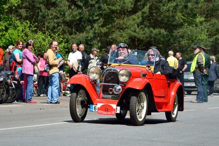 speedster: KRIVONOSKA - MAY 10: 1933 AERO 662 on Car Competition during Czech Veteran Rallye. May 10, 2014 in Krivonoska, Czech Republic.