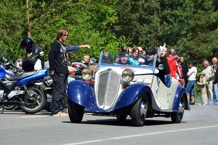 speedster: KRIVONOSKA - MAY 10: 1934 Z-4 on Car Competition during Czech Veteran Rallye. May 10, 2014 in Krivonoska, Czech Republic. Editorial