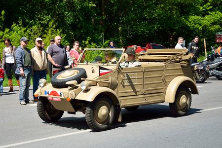 speedster: KRIVONOSKA - MAY 10: 1943 KDF82 on Car Competition during Czech Veteran Rallye. May 10, 2014 in Krivonoska, Czech Republic. Editorial
