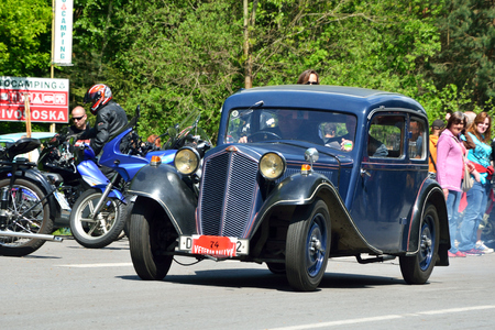 KRIVONOSKA - MAY 10: 1934 Z-4 on Car Competition during Czech Veteran Rallye. May 10, 2014 in Krivonoska, Czech Republic. Editorial