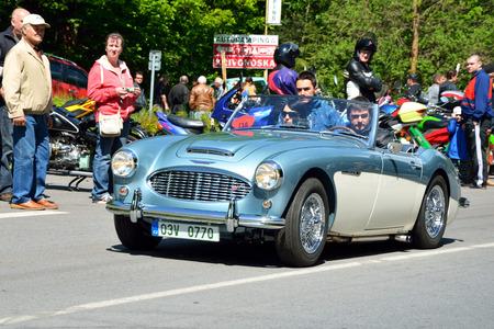 speedster: Kivonoska - MAY 10: 1957 AUSTIN Healey 1006 on Car Competition During Czech Veteran Rallye. May 10, 2014 in Krivonoska, Czech Republic.