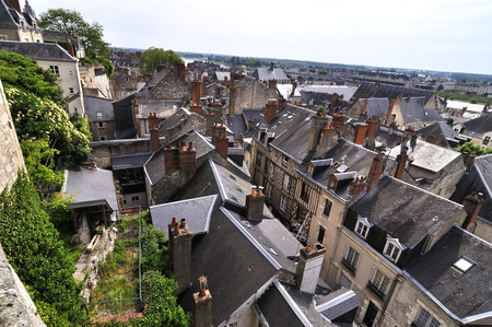 The city of Amboise in France, view from Ch? ? teau Royal dAmboise. Stock Photo