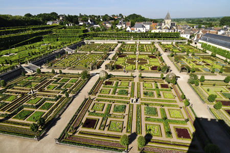 VILLANDRY, FRANCE - JUNE,2013 - Garden with Castle Villandry. The Chateau of Villandry is the last of the great chateau of the Loire built during the Renaissance in the Loire Valley. Editorial