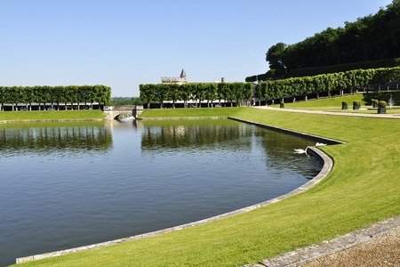 VILLANDRY, FRANCE - JUNE,2013 - Garden with Castle Villandry. The Chateau of Villandry is the last of the great chateau of the Loire built during the Renaissance in the Loire Valley. Include a water ornamental flower gardens, and vegetable gardens. Editorial
