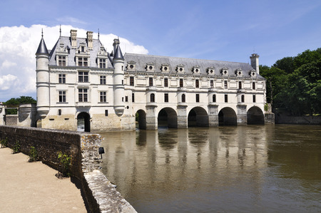 CHENONCEAU, FRANCE - JUNE,2013 - Loire Valley castle near the village of Chenonceaux. It was built in 15-16 century, an architectural mixture of late Gothic and early Renaissance. Editorial